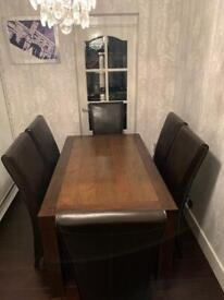 Lyon Walnut Extending Dining Table with 6 Brown Leather Chairs