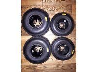BRAND NEW Mojo Wet Tyres on Black JET (used twice) Minimax Rims **(stored inside)**