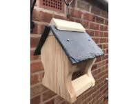 Handmade Bird Double Feeders with Slate Roof