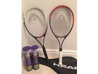 2 Head Tennis Rackets with 2 Slazenger sets of Tennis Balls