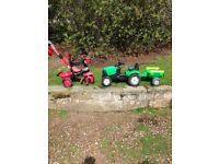 Child's Ride on tractor and trike