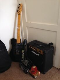 Partcaster guitar, Marshall amp and pedals