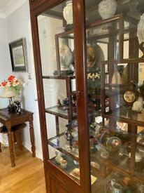 carved Mahogany glass display cabinet in great condition