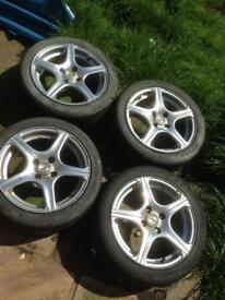 5spoke alloy wheels 4 bolt holes sold as seen de pics for sizes