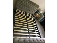 Double silver crushed velvet sleigh bed