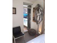 Hollywood Regency Silver Palm Tree Floor Lamp Maison Jansen Hans Kögl Inspired / lampe palmier