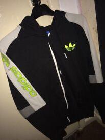 Black, grey, white and green Adidas jacket (S)