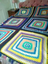 Hand crochet wool blanket. Great for a double bed or would make a lovely throw for a sofa.