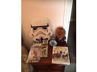 Star Wars items(including talking chewy, stormtrooper cushion and books)