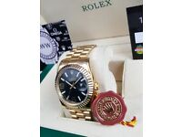New boxed with papers Gold with black dial numbers with fluted bezel Rolex Date Just watch with Auto