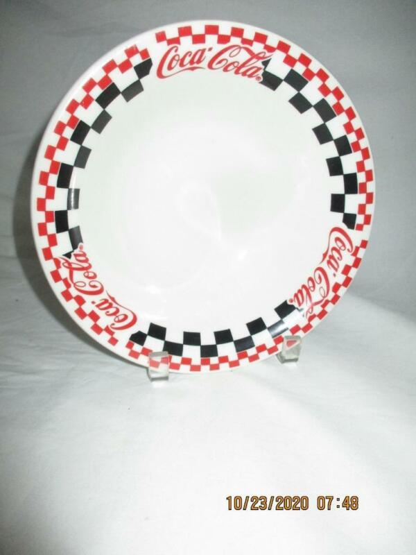 """Coca-Cola Coke 8"""" Vegetable Serving Bowl Checkered Pattern Gibson Designs 1996"""
