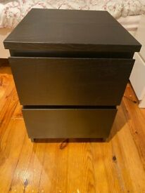 IKEA MALM Black Nightstand (Chest with two drawers)