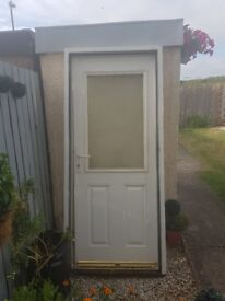 Used White Back Door with Frame