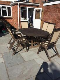 6 chairs and extendable table wooden patio set patio furniture
