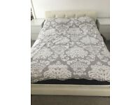 Faux leather cream double bed