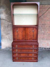 G Plan Vintage Retro Cabinet / Display Case / Drinks /Bureau Cabinet In Fresco Teak.