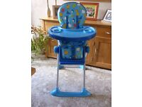 High Chair, blue background, as new. Only used for visits.