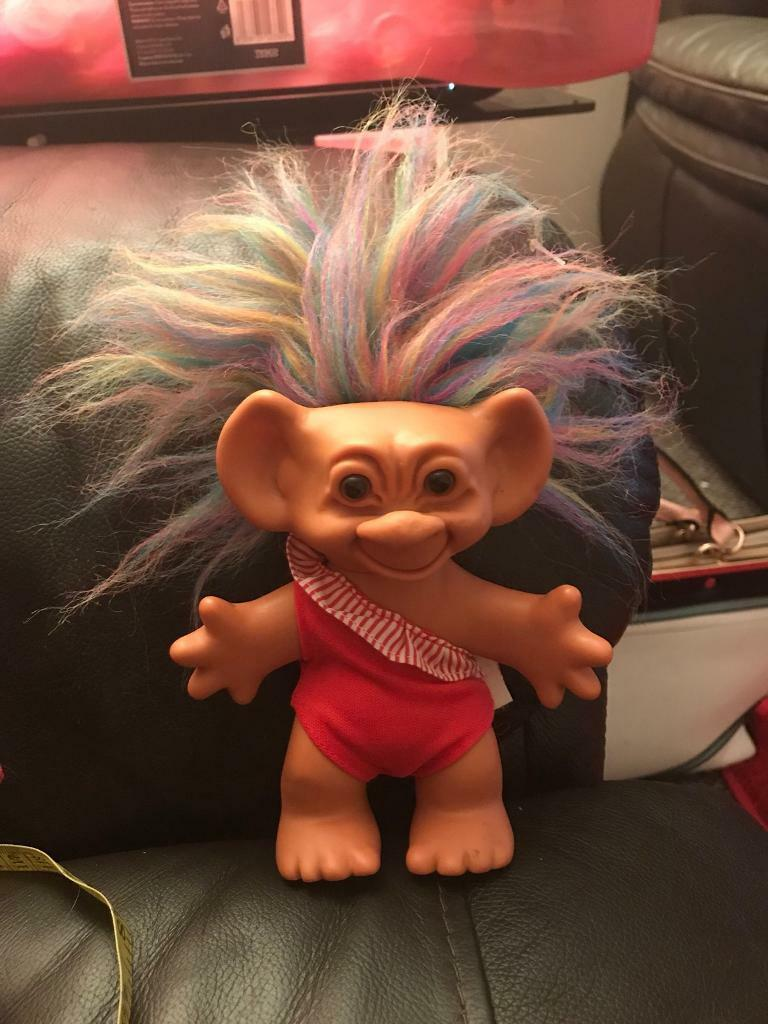 "VINTAGE COLLECTABLE RUSS TROLL, 10"" multi coloured hair"