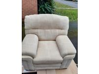 Large comfy armchair with fire protection info .Very good condition