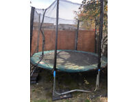 Trampoline Big Air Round Green Padding ladder provided 10 ft Used