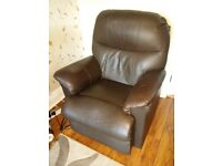 Electric Recliner Armchair in chocolate brown leather