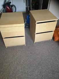 2 ikea bedside cabinets tables beech