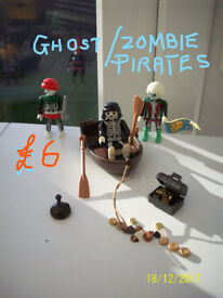 7 PLAYMOBIL PIRATE SETS,PIRATES,TREASURE,BOATS,ZOMBIE/GHOST PIRATES