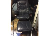 Navy leather swivel chair and foot stool
