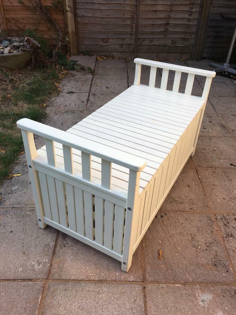 Ikea white angso outdoor garden storage bench