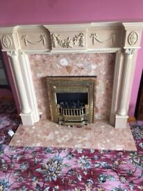 Marble Electric Fire and Surround