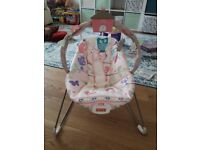 Fisher Price Girls Baby Bouncer Excellent Condition woodland Friends Pink