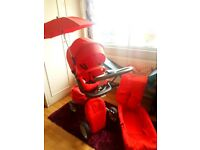 BEAUTIFUL RED STOKKE XPLORY PRAM AND CARRYCOT - FULL SET