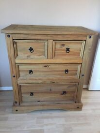 Two sets of chest of drawers, Mexican Pine. Two small drawers at top then two large drawers