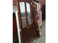 Exterior hardwood door with patterned double glazed glass