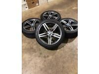 "Brand new set of 17"" Genuine Bmw alloy wheels with Bridgestone run flat tyres ."