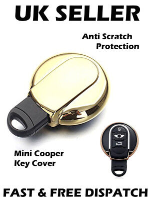 Gold Tone Remote Key Case Holder Shell Protect Cover for BMW Mini Cooper