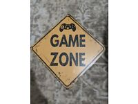 Game Zone Sign - Never Opened perfect for bedroom decor or games room