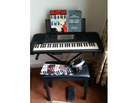 YAMAHA ELECTRONIC ORGAN, WITH ACCESSORIES.