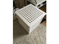 White painted wooden laundry basket
