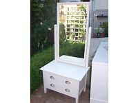 John Lewis White Bedroom Unit With Mirror & Drawers