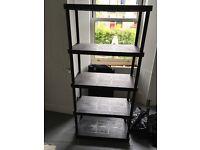 2 sets of plastic shelves / shelving units