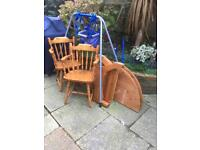 Round table and 2 carver chairs