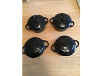 4x Small Ceramic Cooking Pot – 10cm Diameter, 5cm Deep