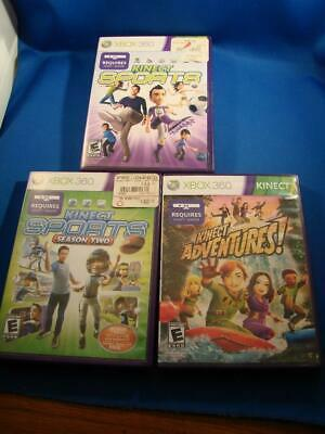 Lot of 3 Xbox 360 Kinect Games Adventures, Sports Season Two, Kinect Sports COOL (Coole Xbox 360)
