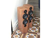Pair of Floorstanding Active Speakers (with in-built amplifier) in Walnut