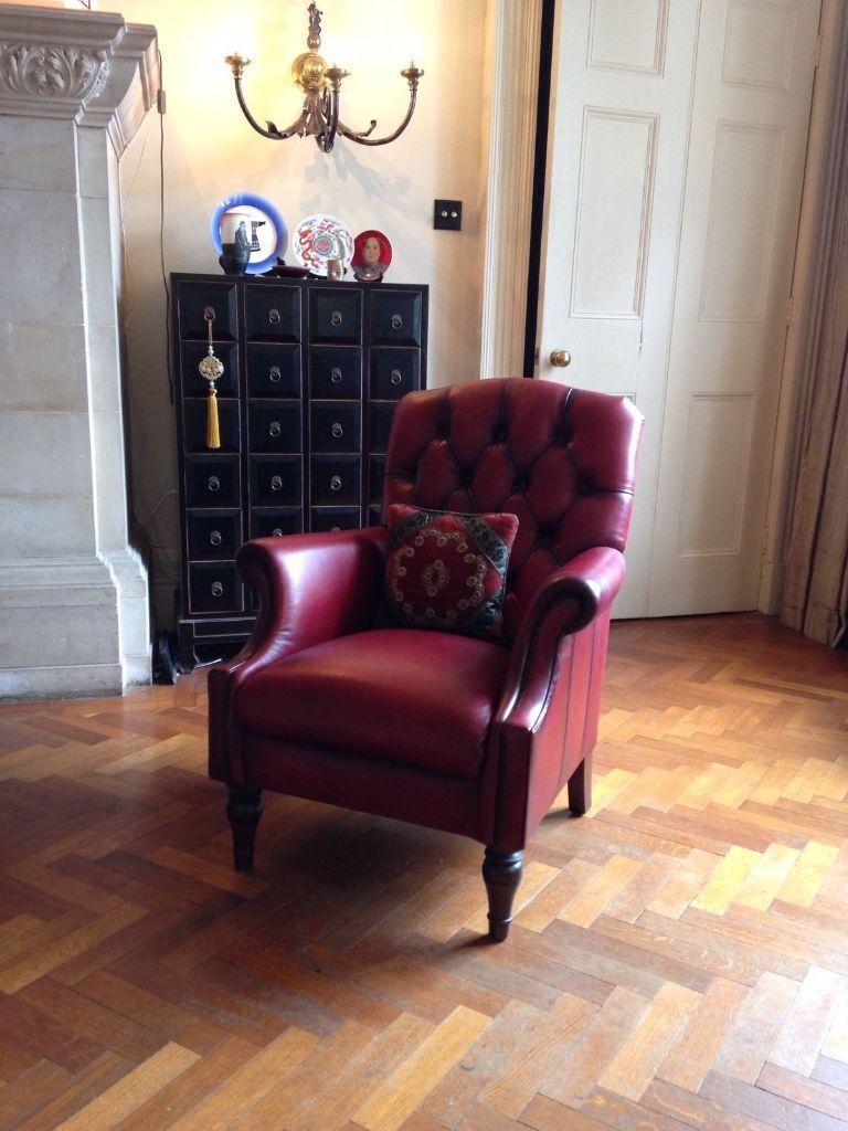Laura Ashley Lancaster Leather Burgundy Chair With