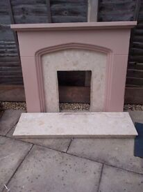 Plaster fire surround with marble back and hearth