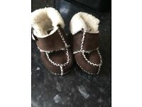 Faux fur baby booties size 6 months £5