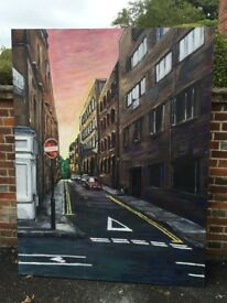 London Street original painting,can deliver due to size.