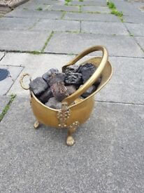 Brass coal bucket with artificial coal